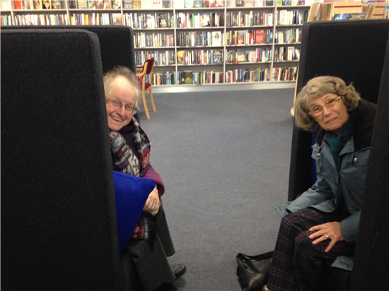 Liz and Maureen testing aucoustic chairs